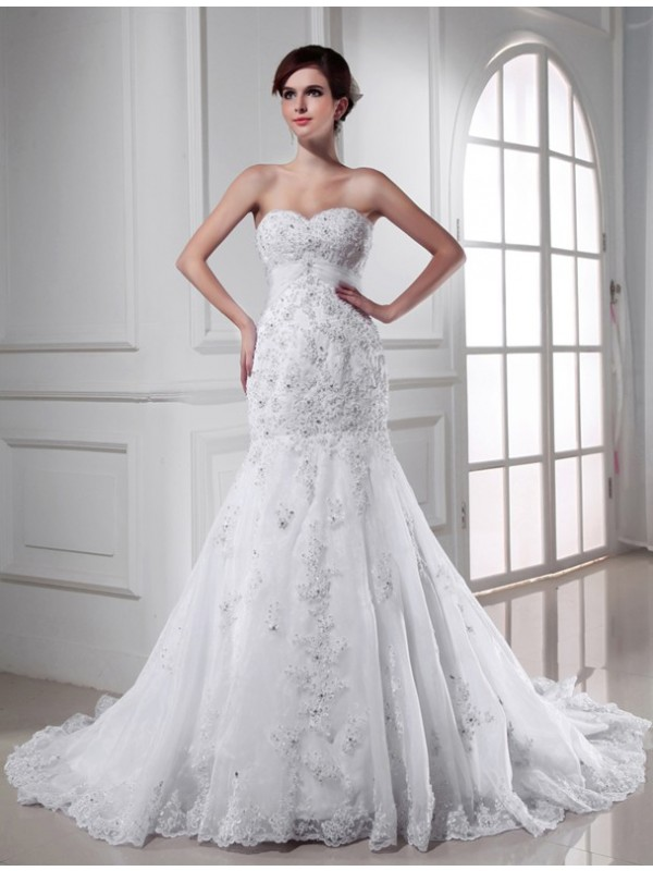 Treasured Reveries Mermaid Style Beading Sweetheart Applique Organza Wedding Dresses