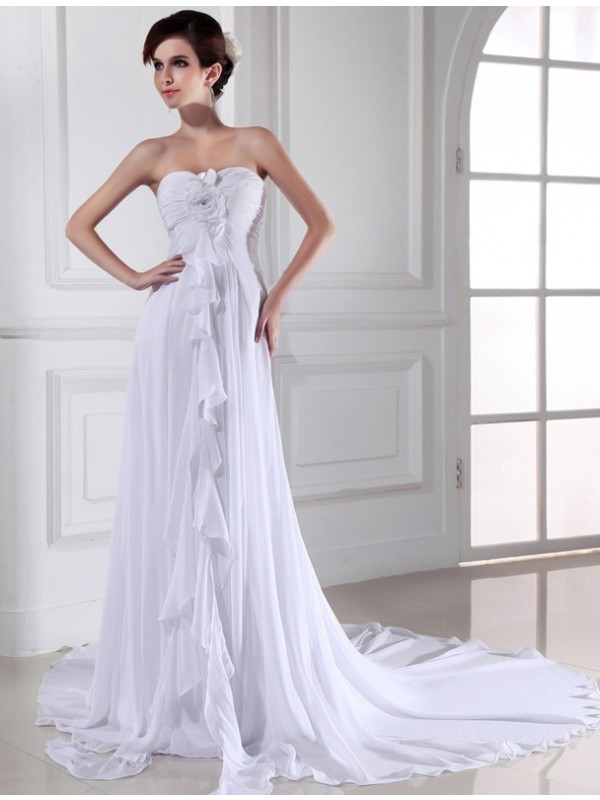 Limitless Looks Sheath Style Hand-made Flower Sweetheart Chiffon Long Wedding Dresses