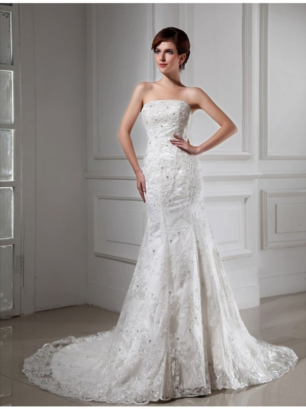 Comfortably Chic Mermaid Style Beading Strapless Lace Satin Wedding Dresses
