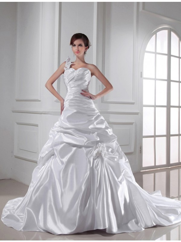 Creative Courage Princess Style One-shoulder Sweetheart Long Pleats Elastic Woven Satin Wedding Dresses