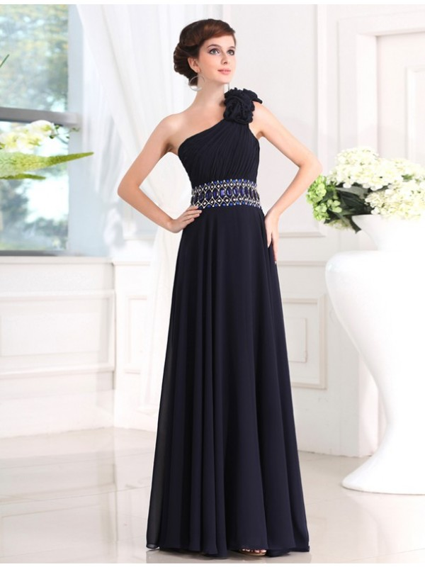 Too Much Fun Sheath Style Beading One-shoulder Long Chiffon Dresses