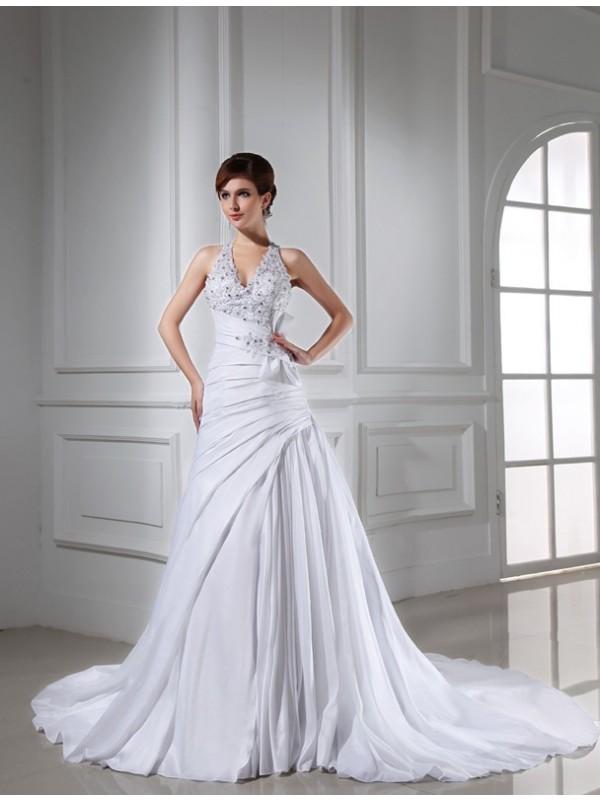 Efflorescent Dreams Princess Style Beading Halter Long Taffeta Wedding Dresses