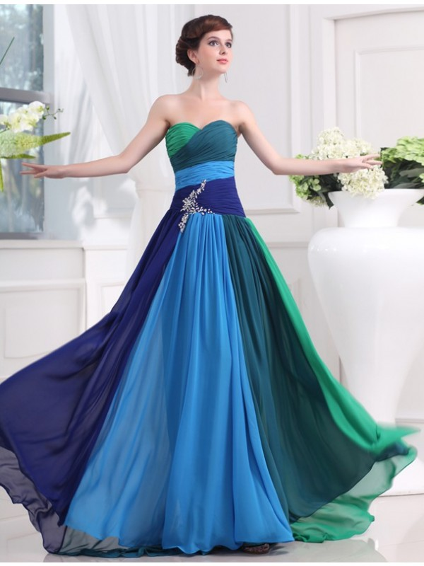 Dashing Darling Princess Style Sweetheart Beading Long Chiffon Dresses