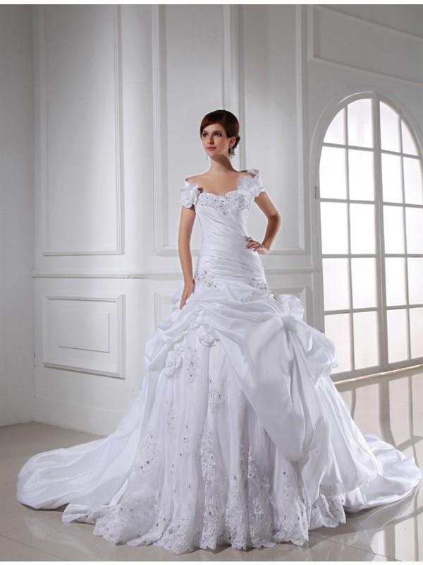 Automatic Classic Beading Sweetheart Long Taffeta Wedding Dresses