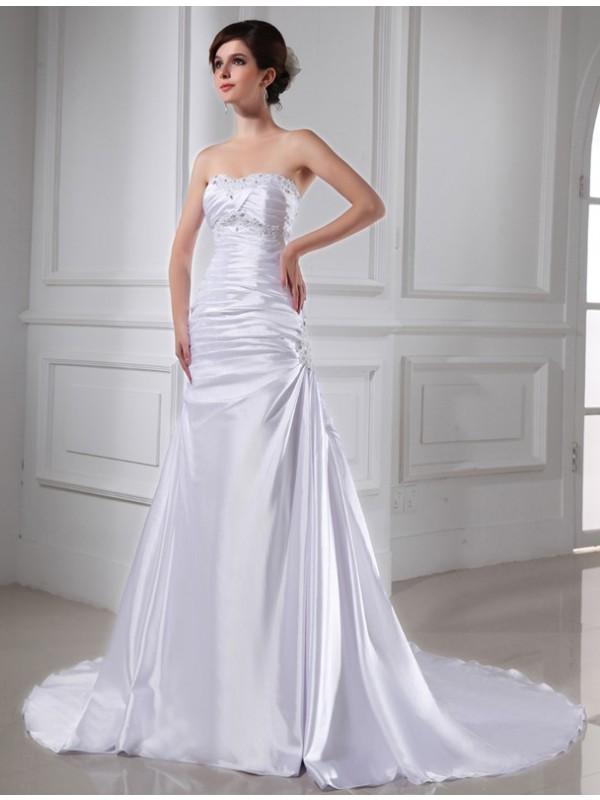 Cordially Delighted Princess Style Beading Applique Elastic Woven Satin Wedding Dresses