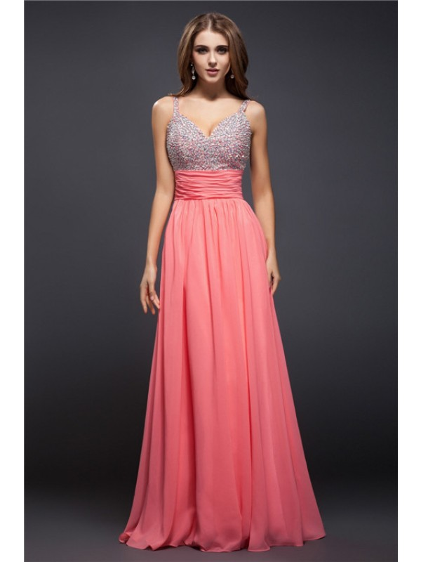 Pretty Looks Sheath Style Spaghetti Straps Beading Long Chiffon Dresses