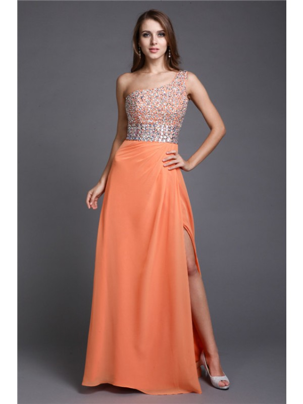 Lively Identity Sheath Style One Shoulder Long Beading Chiffon Dresses