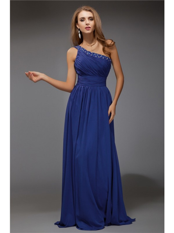 Vibrant Stylist Fantastic Sheath Style One-Shoulder Beading Long Chiffon Dresses
