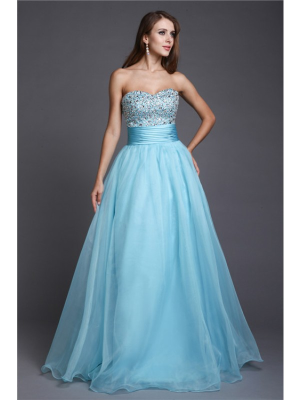 Memorable Magic Princess Style Sweetheart Beading Long Organza Dresses