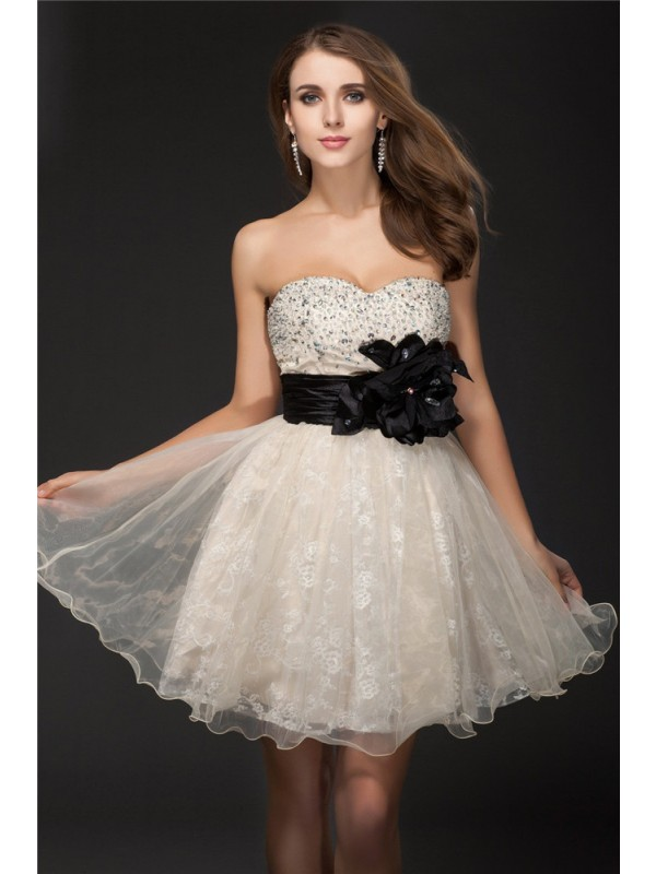 Automatic Classic Princess Style Sweetheart Beading Short Organza Cocktail Dresses