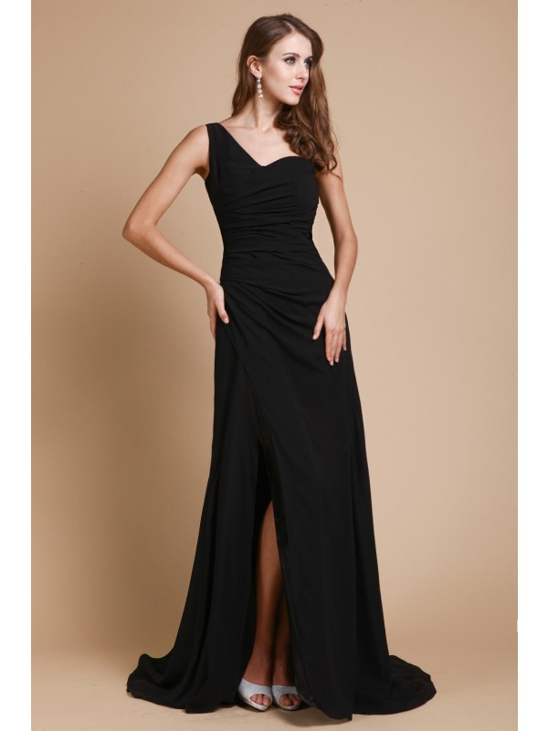 Romantic Vibes Princess Style One-Shoulder Ruffles Long Chiffon Dresses
