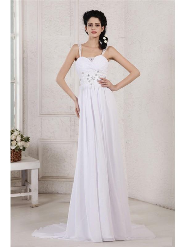 Festive Self Sheath Style Spaghetti Strap Pleats Ruched Beading Applique Long Chiffon Wedding Dresses