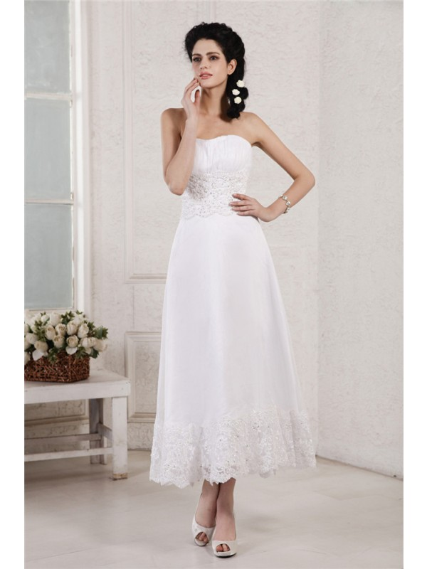 Styled to Smile Princess Style Strapless Pleats Applique Beading Short Chiffon Wedding Dresses