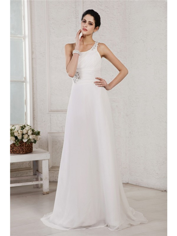 First Impressions Princess Style One-Shoulder Beading Applique Long Chiffon Wedding Dresses
