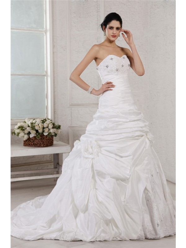Pleased to be Me Princess Style Sweetheart Applique Beading Long Taffeta Wedding Dresses