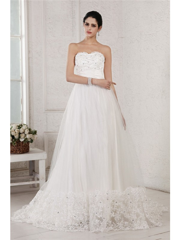 Too Much Fun Princess Style Sweetheart Beading Applique Long Net Wedding Dresses