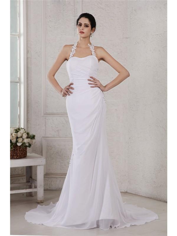 Dancing Queen Mermaid Style Halter Beading Applique Long Chiffon Wedding Dresses