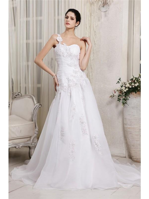 Stylish Refresh Princess Style One-Shoulder Beading Applique Long Organza Wedding Dresses