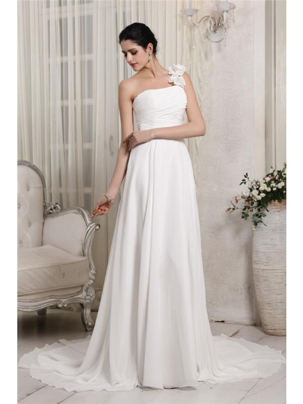 Vibrant Stylist Sheath Style One-Shoulder Ruffles Long Chiffon Wedding Dresses