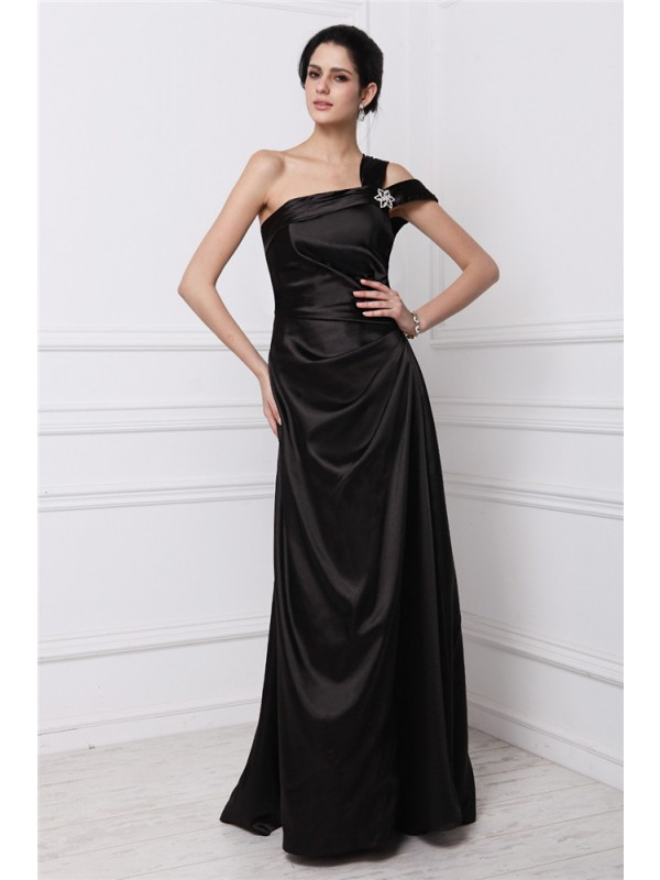 Beautiful You Sheath Style One-Shoulder Beading Long Elastic Woven Satin Dresses