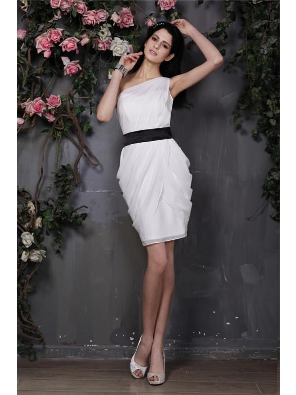 Sweet Sensation Sheath Style One-Shoulder Pleats Short Chiffon Cocktail Dresses