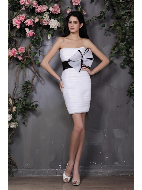 Cordially Delighted Sheath Style Strapless Bowknot Pleats Short Organza Cocktail Dresses