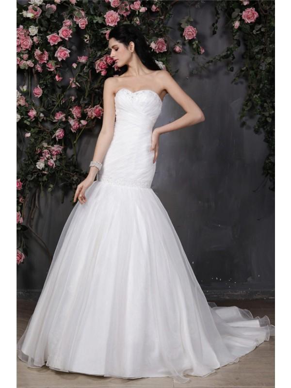 Fresh Picks Mermaid Style Sweetheart Beading Pleats Ruffles Long Organza Wedding Dresses