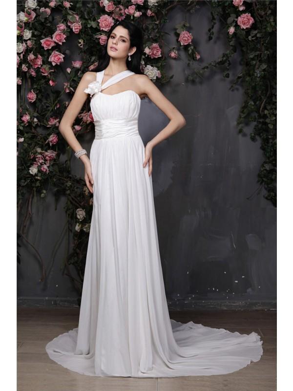 Beautiful You Sheath Style Halter Hand-Made Flower Pleats Long Chiffon Wedding Dresses