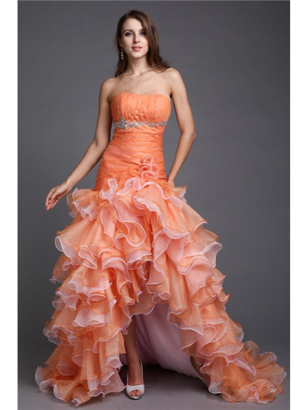 Efflorescent Dreams Ball Gown Strapless Beading High Low Organza Cocktail Dresses