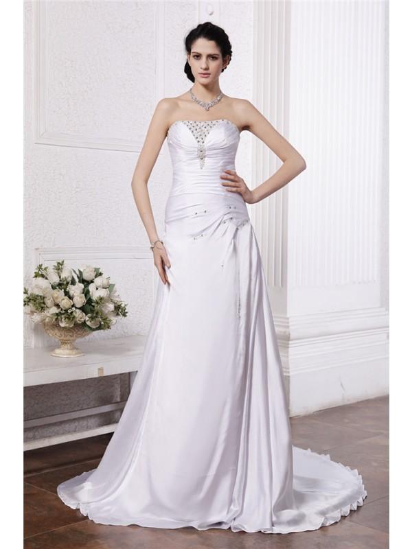 Eye-Catching Charm Princess Style Strapless Beading Ruffles Long Silk like Satin Wedding Dresses