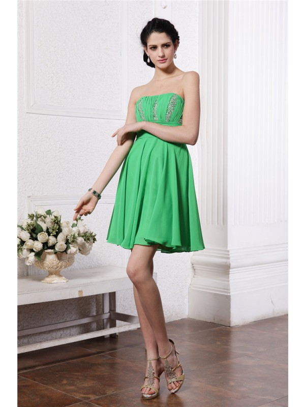 Styled to Smile Sheath Style Strapless Beading Pleats Short Chiffon Cocktail Dresses