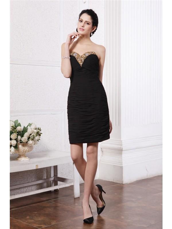 Fabulous Fit Sheath Style Sweetheart Beading Pleats Short Chiffon Cocktail Dresses