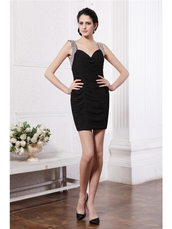 Visual Moment Sheath Style Straps Beading Short Chiffon Cocktail Dresses
