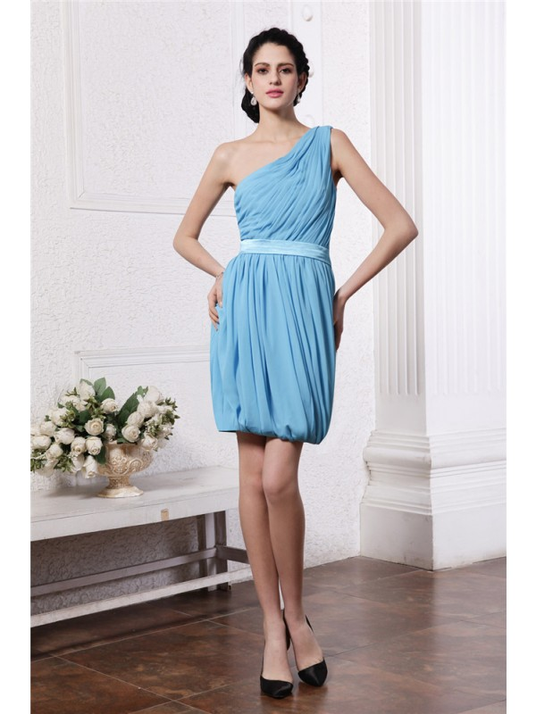 Open to Adoration Sheath Style One-Shoulder Pleats Short Chiffon Cocktail Dresses