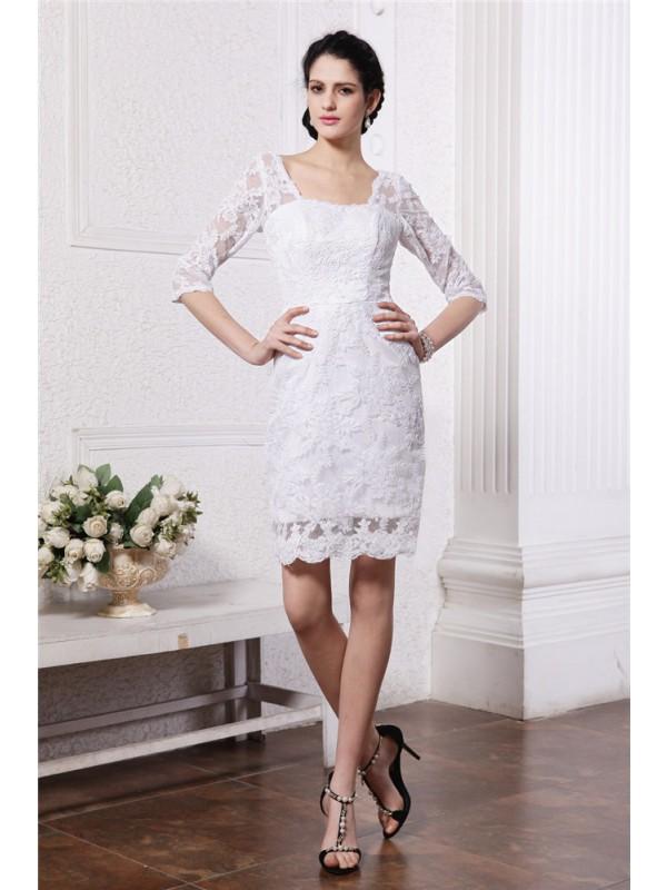 Intuitive Impact Sheath Style Half Sleeves Bateau Short Lace Wedding Dresses