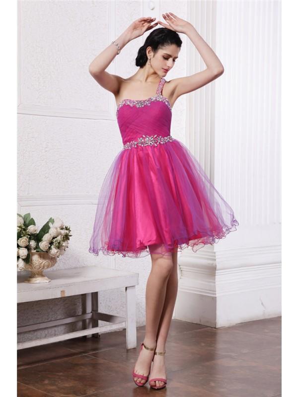 Memorable Magic Princess Style One-Shoulder Beading Short Organza Cocktail Dresses