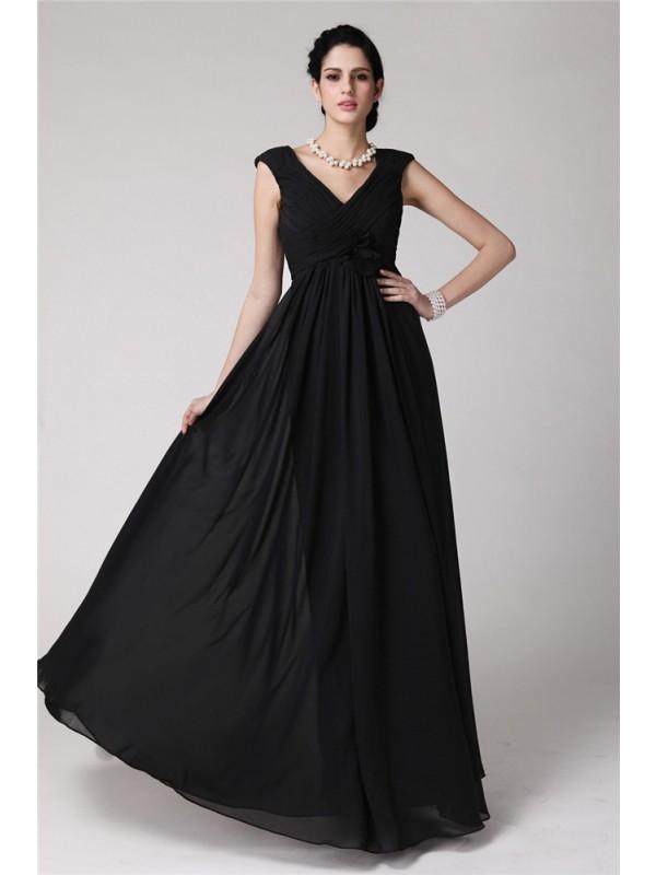 Naturally Chic Sheath Style V-neck Pleats Long Chiffon Dresses