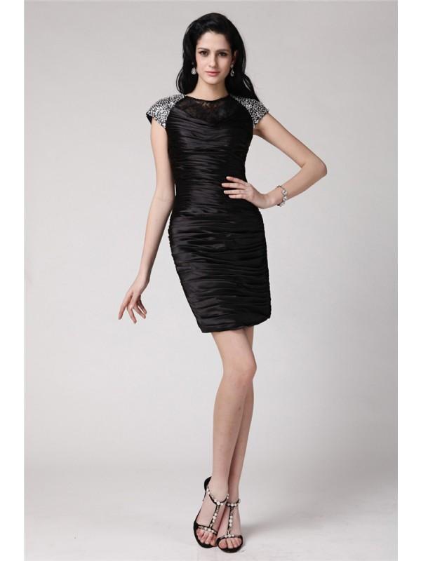 Stylish Refresh Sheath Style Scoop Beading Lace Short Elastic Woven Satin Cocktail Dresses