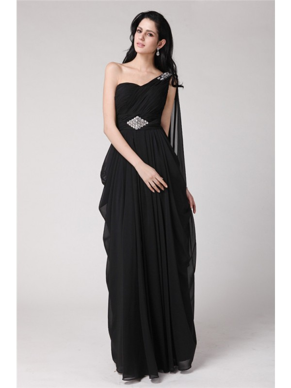 Dashing Darling Sheath Style One-Shoulder Long Beading Chiffon Dresses