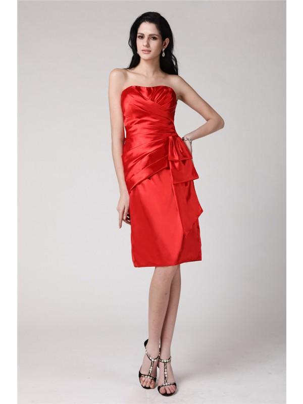 Lively Identity Sheath Style Strapless Pleats Short Elastic Woven Satin Cocktail Dresses