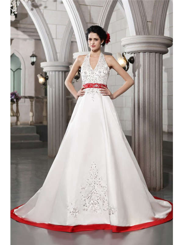 Desired Spotlight Princess Style V-neck Beading Embroidery Long Satin Wedding Dresses