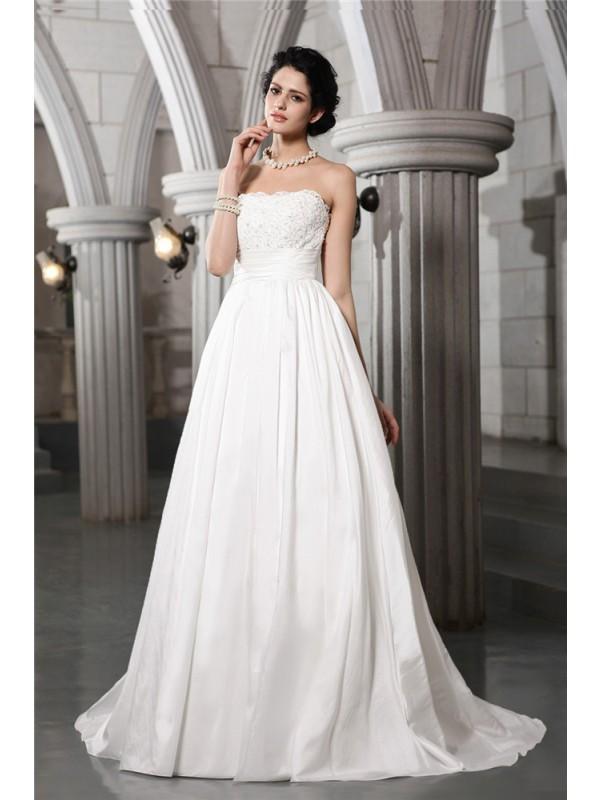 Voiced Vivacity Princess Style Strapless Beading Applique Long Taffeta Wedding Dresses