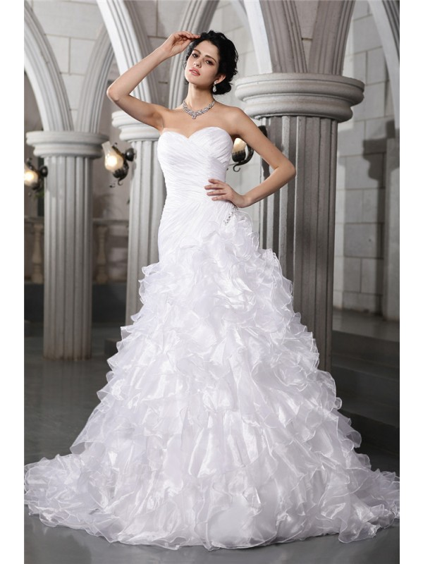 Cordially Delighted Princess Style Sweetheart Pleats Beading Long Organza Wedding Dresses