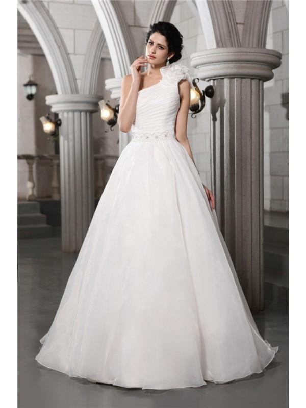 Festive Self Princess Style One-Shoulder Beading Long Organza Wedding Dresses