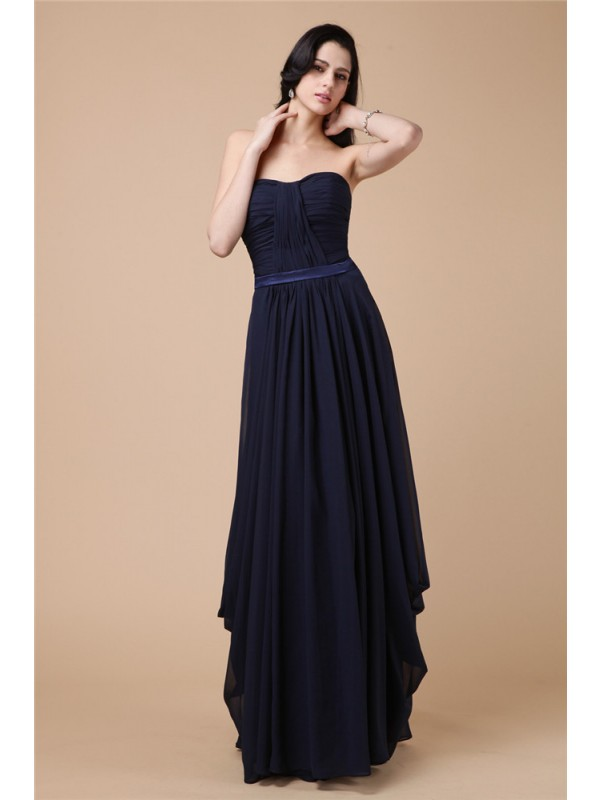 Sweet Sensation Sheath Style Strapless Pleats Long Chiffon Dresses
