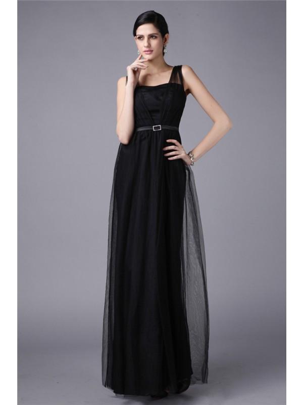 Modern Mood Sheath Style Straps Sash Long Net Dresses