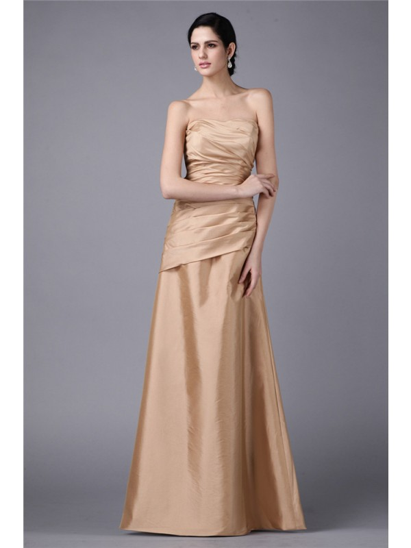 Touch of Texture Sheath Style Strapless Pleats Long Taffeta Dresses