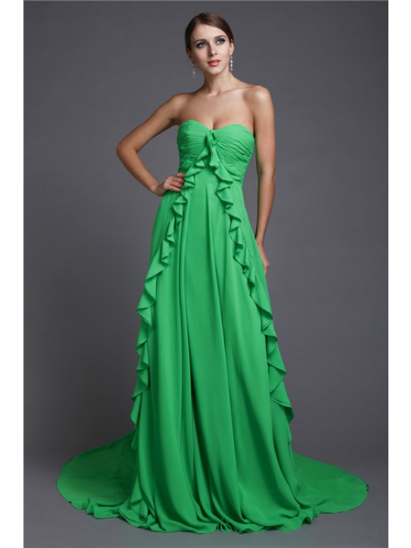 Embracing Grace Princess Style Sweetheart Ruffles Long Chiffon Dresses