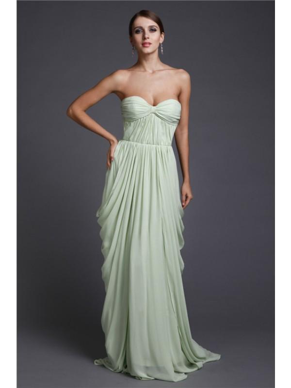 Befits Your Brilliance Sheath Style Sweetheart Long Ruffles Chiffon Dresses