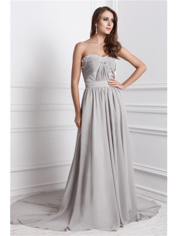 Eye-Catching Charm Princess Style Sweetheart Long Beading Chiffon Dresses